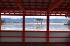 Great floating gate (o-torii) on miyajima island Stock Photos
