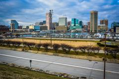 View of the baltimore inner harbor and skyline from federal hill, baltimore,  Stock Photos