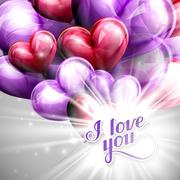 Vector holiday illustration of  I love you label on the festive balloon hearts Stock Illustration