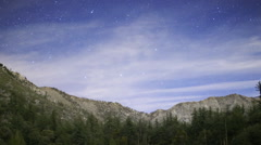 Stock Video Footage of Astrophotography Time Lapse of Stars over Alpine Lake & Mountain -Zoom Out-