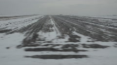 POV Point of view train pass field landscape covered snow winter cloudy day land - stock footage