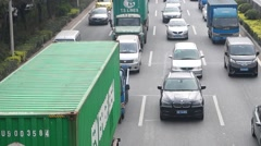 Shenzhen Baoan Xixiang 107 National Highway Traffic landscape, in China Stock Footage