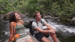Hiking people in outdoor activity on Hawaii Stock Footage
