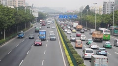Shenzhen Baoan Xixiang 107 National Highway Traffic landscape, in China Stock Footage