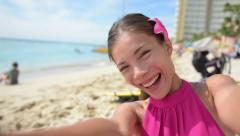 Travel selfie girl take self portrait photograph  blowing a kiss Stock Footage
