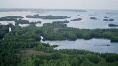 Aerial shot sunken boat between islands UHD 4K Stock Footage