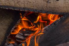 wood burning in a brazier - stock photo