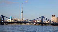 Tokyo Bay, bridge and SkyTree TV tower, Japan Stock Footage