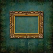 Wood carved old baroque frame on victorian wallpaper Stock Photos