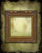 Empty baroque wooden golden frame on grunge tattered wallpaper Stock Photos