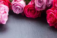 Red and pink  roses  frame on table Stock Photos