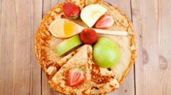 Baked food : pancake with honey Stock Footage