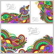 Set of floral decorative background, template frame design for c Stock Illustration