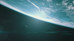 Wide shot of the space shuttle orbiting earth. - stock footage