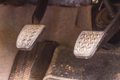 Brake pedal and accelerator Stock Photos