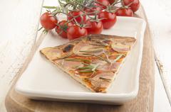 thin flat bread pizza with potato - stock photo