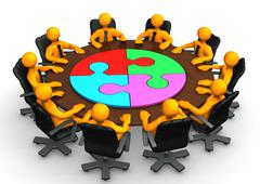 manikins meeting circle puzzle - stock illustration