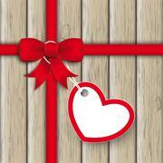 red ribbon ash heart wood - stock illustration