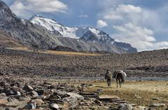 arid valley in tajikistan - stock photo