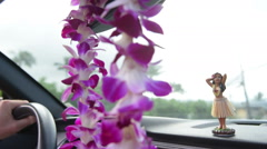 Driving car on Hawaii travel - Hula doll and lei Stock Footage