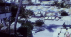 Stock Video Footage of Miami Tourists Hotel Pool Szene 60s 70s 16mm