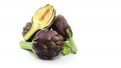 Artichoke rotates on white background Stock Footage