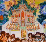 Stock Photo of buddhist temple mural painting