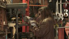Teen Girl Using Power Tools Stock Footage