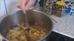 Vegetable soup with mushrooms closeup Stock Footage