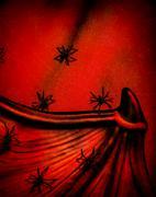 spiders on halloween background - stock photo
