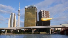 Tokyo Bay, bridge, traffic and SkyTree TV tower, Japan Stock Footage