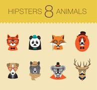 Cute fashion Hipster Animals set 1 of vector icons Stock Illustration