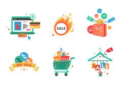 Collection of shopping carts full of shopping bags and gift boxes. Concept of - stock illustration