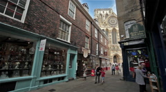 YORK MINSTER VIEW, MINSTER GATE, YORK, NORTH YORKSHIRE Stock Footage