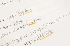 School Notebook With Math Equations - stock photo