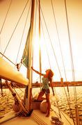 beautiful sailor girl - stock photo
