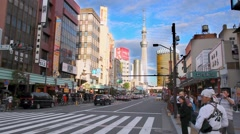On the street of Tokyo and SkyTree TV tower, Japan Stock Footage