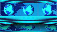 Virtual NEWS Studio, Full HD with rotating Earths Stock Footage