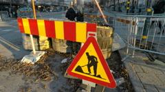 Road works sign - Winter street scenes Fridhemsplan,  Stockholm Stock Footage