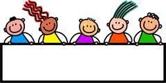 Signboard Kids - stock illustration