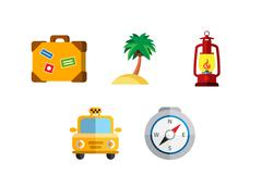 Flat icons set with long shadow effect of traveling on airplane, planning a Stock Illustration