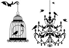 Birdcage and chandelier, vector Stock Vector Illustration: vinta Stock Illustration