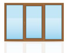 brown plastic transparent window view indoors vector illustration - stock illustration