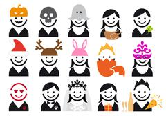 Holiday people icon set, vector Stock Illustration