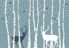 Stock Illustration of birch trees with deer, vector background