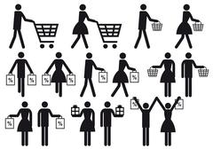 shopping people, vector icon set - stock illustration