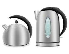 Electric and kettle for gas cooker vector illustration Stock Illustration