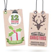 christmas sales hang tags - stock illustration