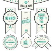 Summer events related vintage labels Stock Illustration