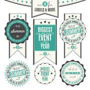 summer events related vintage labels - stock illustration